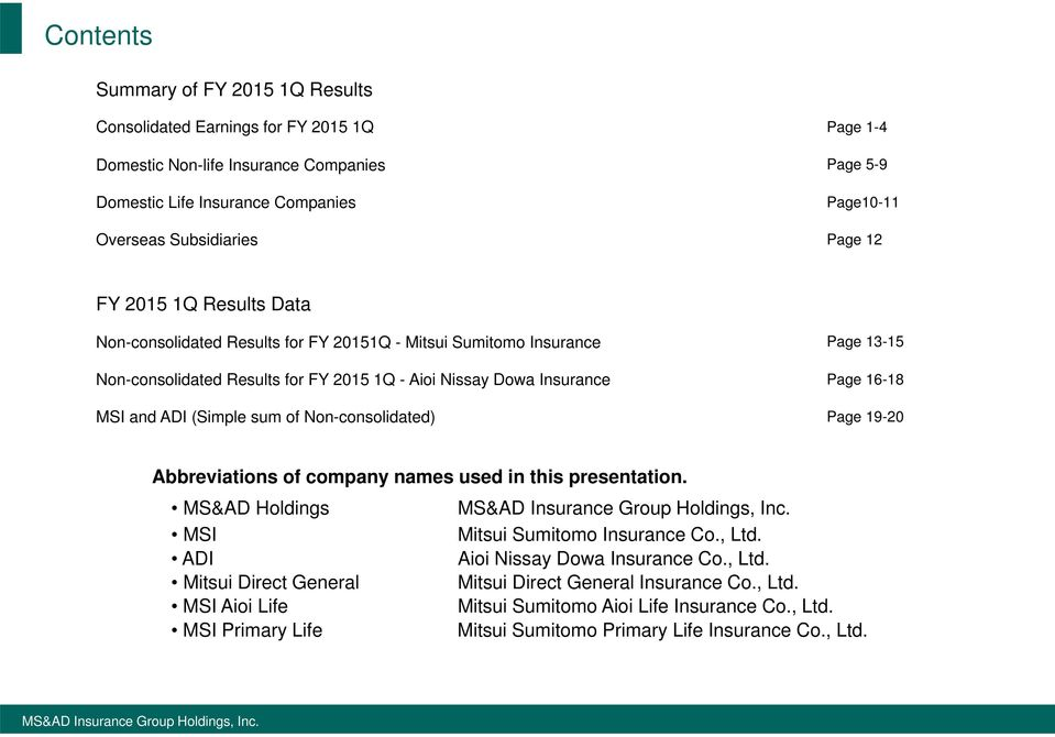 16-18 MSI and ADI (Simple sum of Non-consolidated) Page 19-20 Abbreviations of company names used in this presentation. MS&AD Holdings MSI Mitsui Sumitomo Insurance Co., Ltd.