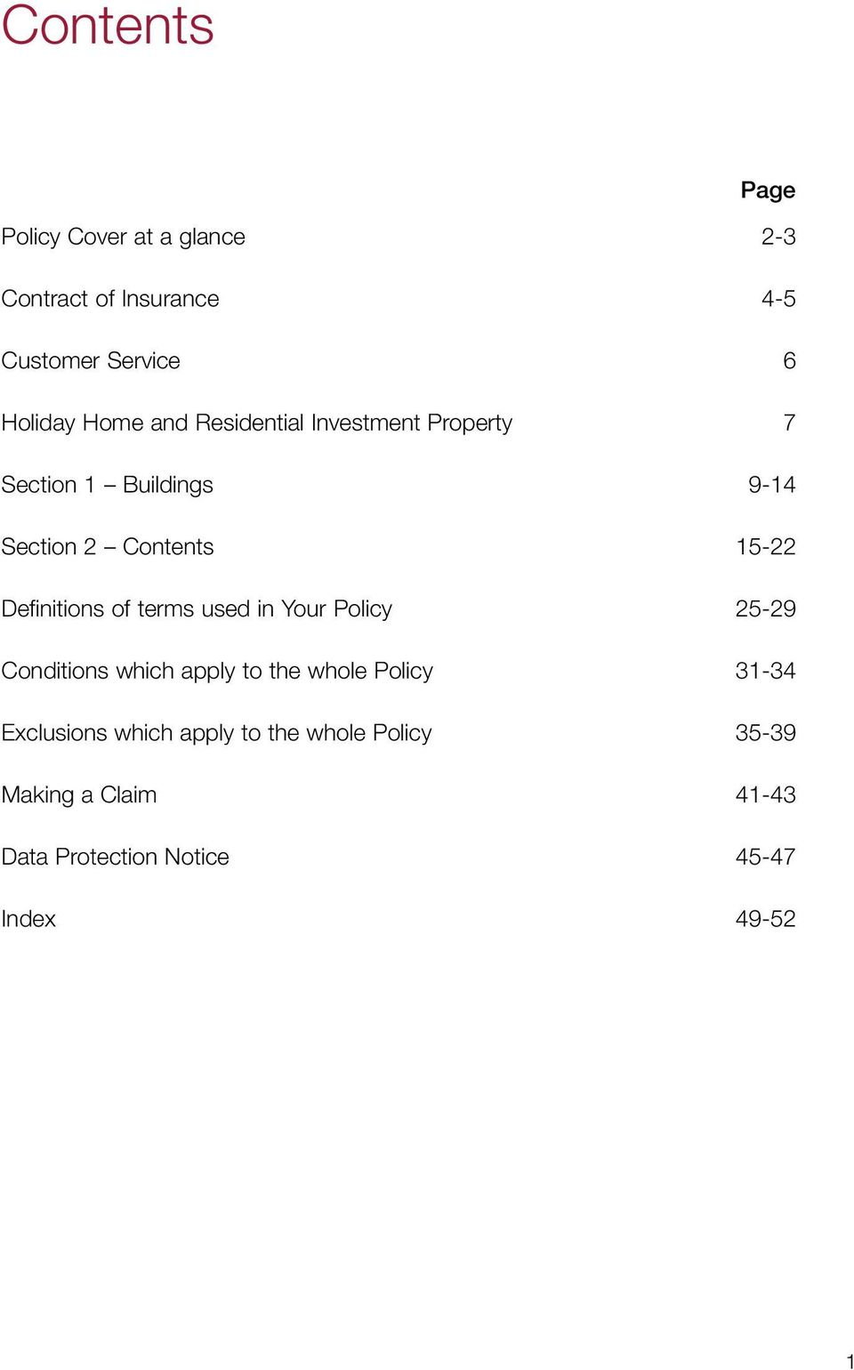Definitions of terms used in Your Policy 25-29 Conditions which apply to the whole Policy 31-34
