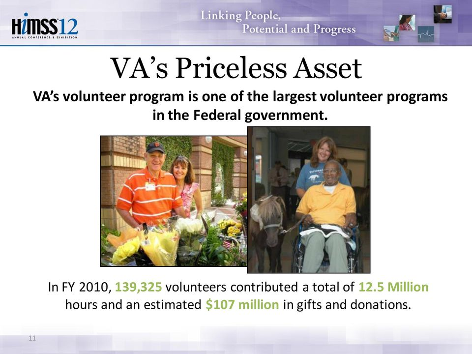 In FY 2010, 139,325 volunteers contributed a total of 12.