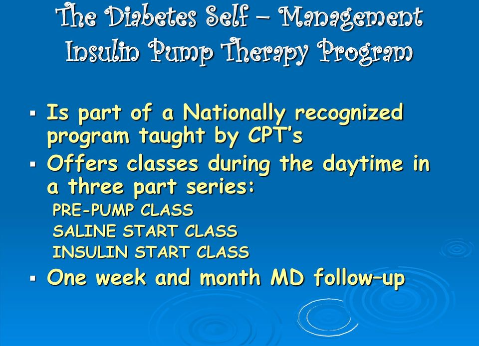 classes during the daytime in a three part series: PRE-PUMP