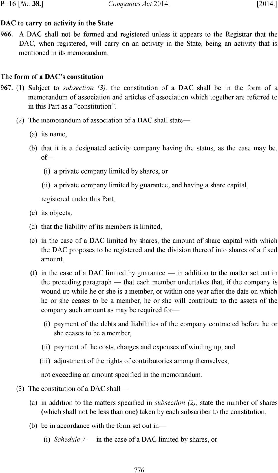 memorandum. The form of a DAC s constitution 967.