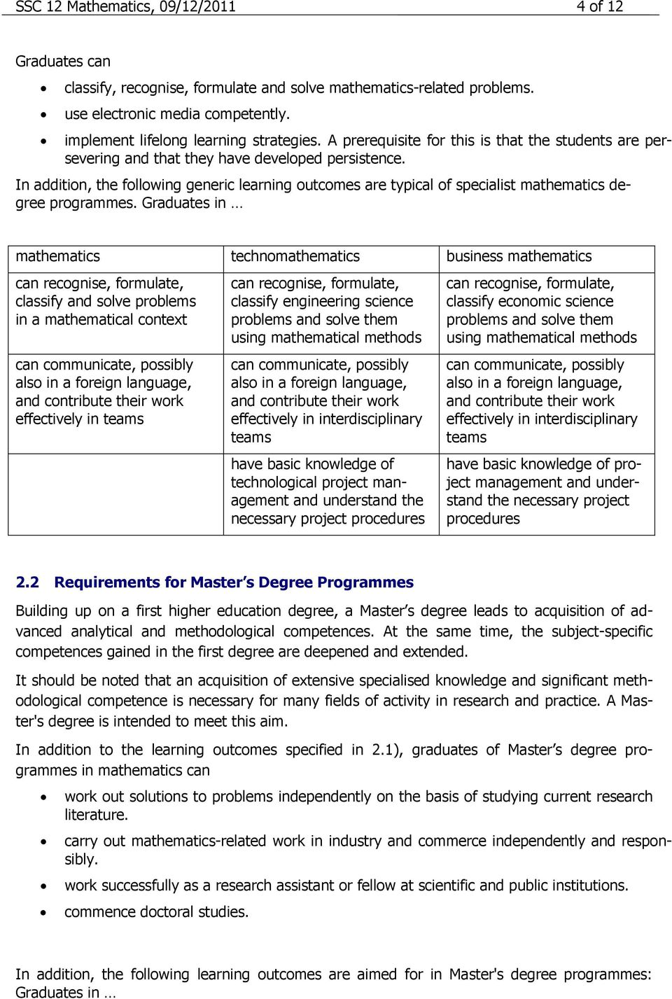 In addition, the following generic learning outcomes are typical of specialist mathematics degree programmes.