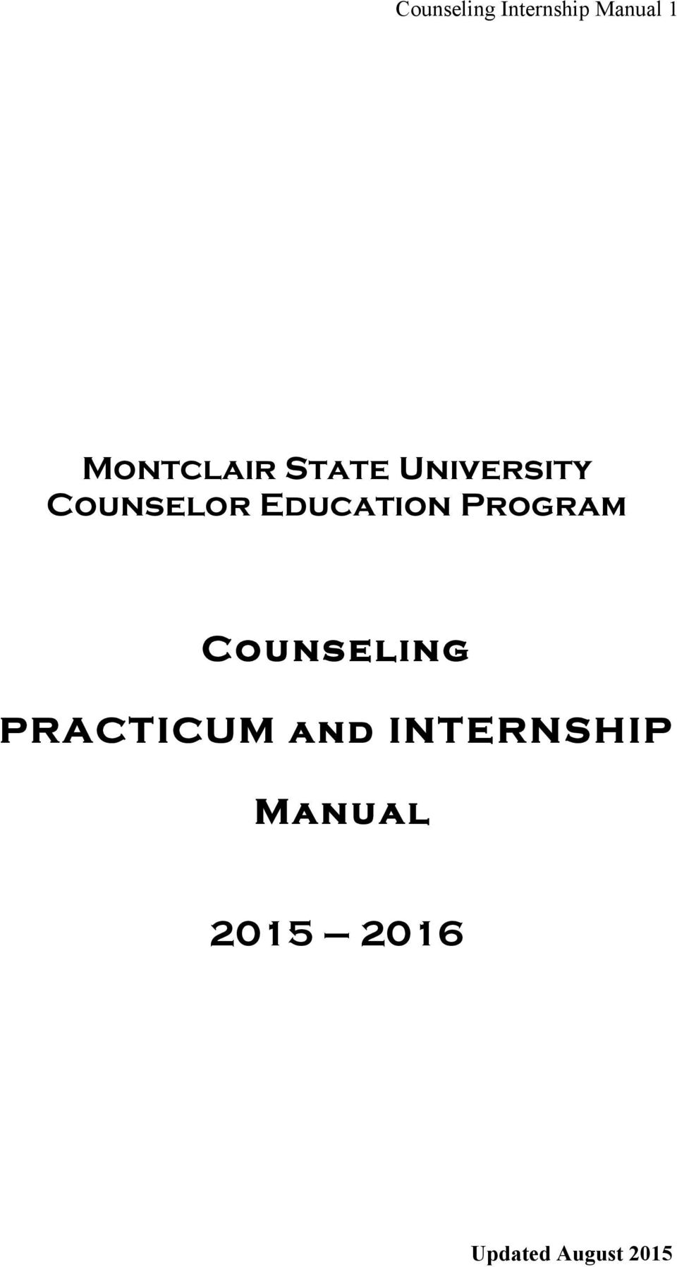 Education Program Counseling PRACTICUM