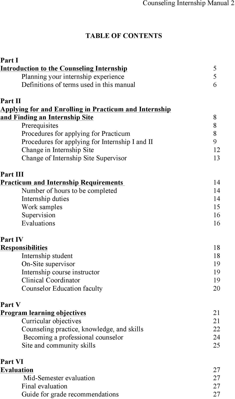 Internship Site 12 Change of Internship Site Supervisor 13 Part III Practicum and Internship Requirements 14 Number of hours to be completed 14 Internship duties 14 Work samples 15 Supervision 16