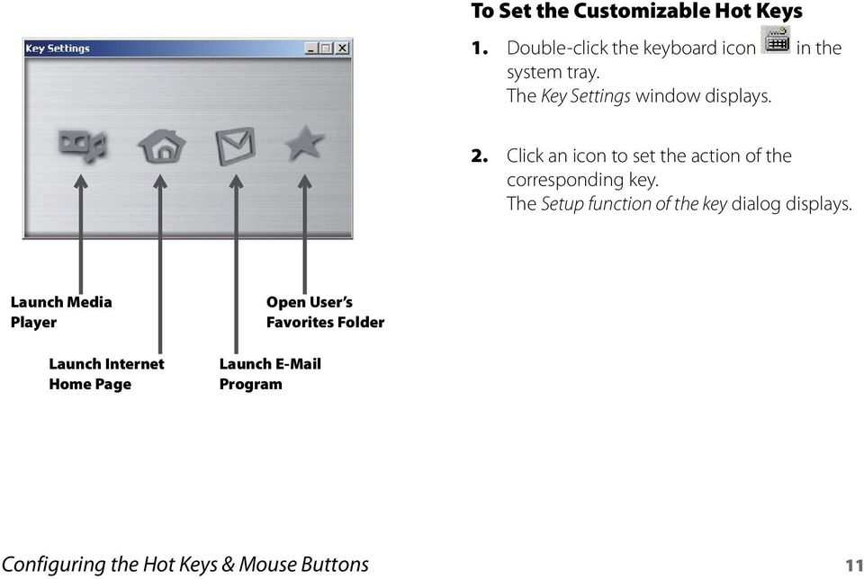 Click an icon to set the action of the corresponding key.
