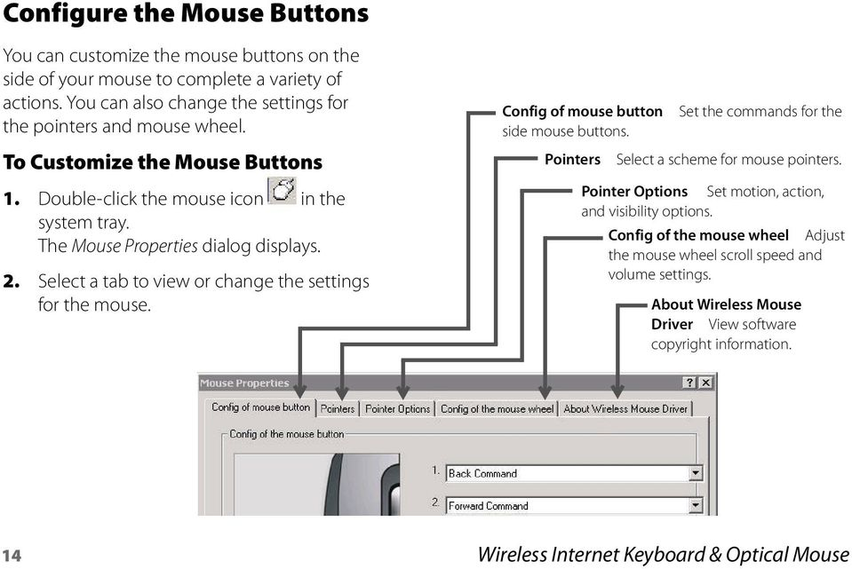 The Mouse Properties dialog displays. 2. Select a tab to view or change the settings for the mouse. Config of mouse button side mouse buttons.