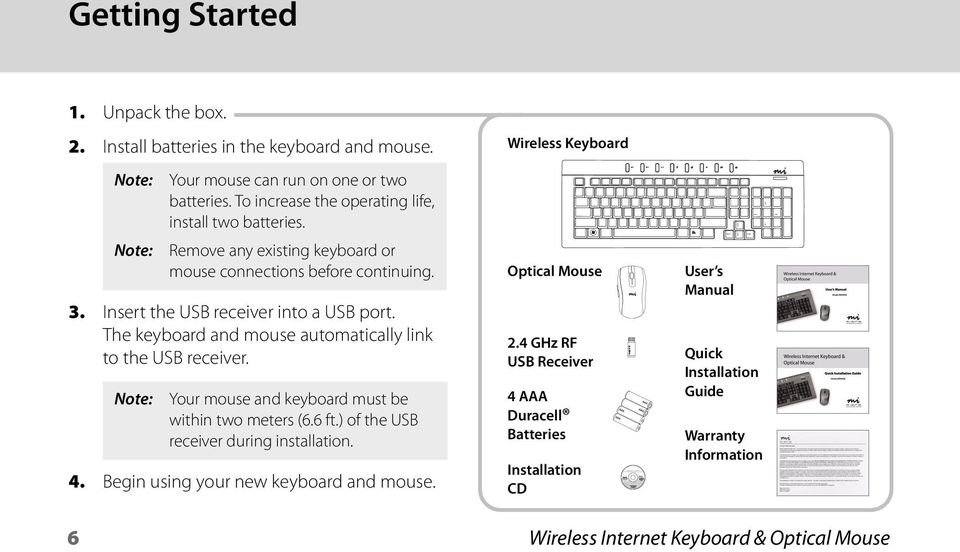 Remove any existing keyboard or mouse connections before continuing. Your mouse and keyboard must be within two meters (6.6 ft.) of the USB receiver during installation. 4.