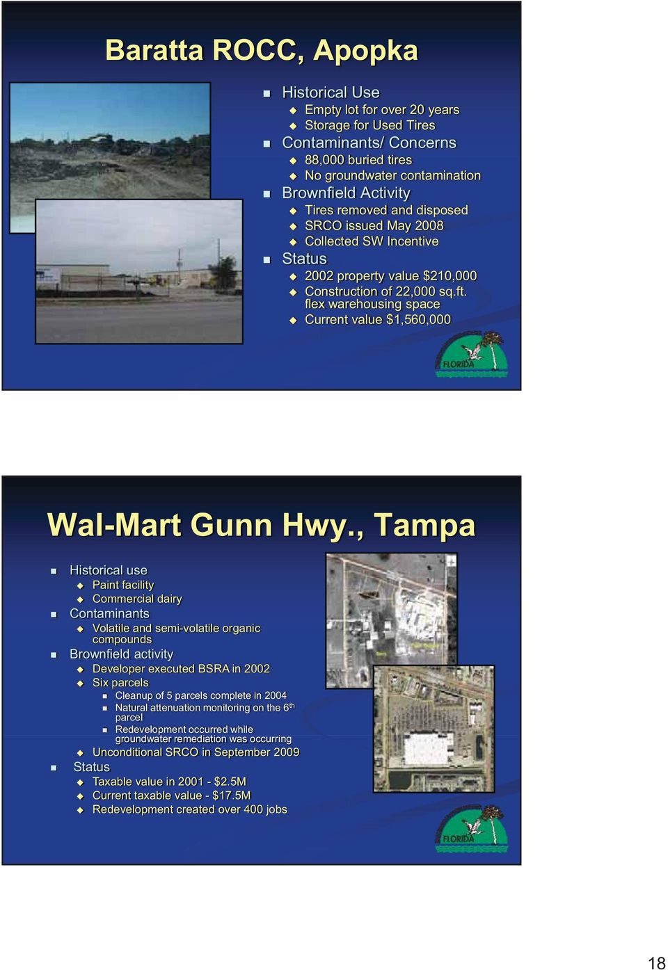 , Tampa Historical use Paint facility Commercial dairy Contaminants Volatile and semi-volatile organic compounds Brownfield activity Developer executed BSRA in 2002 Six parcels Cleanup of 5 parcels
