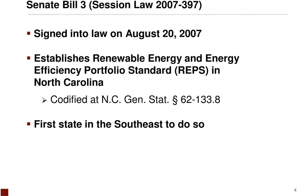 Efficiency Portfolio Standard (REPS) in North Carolina