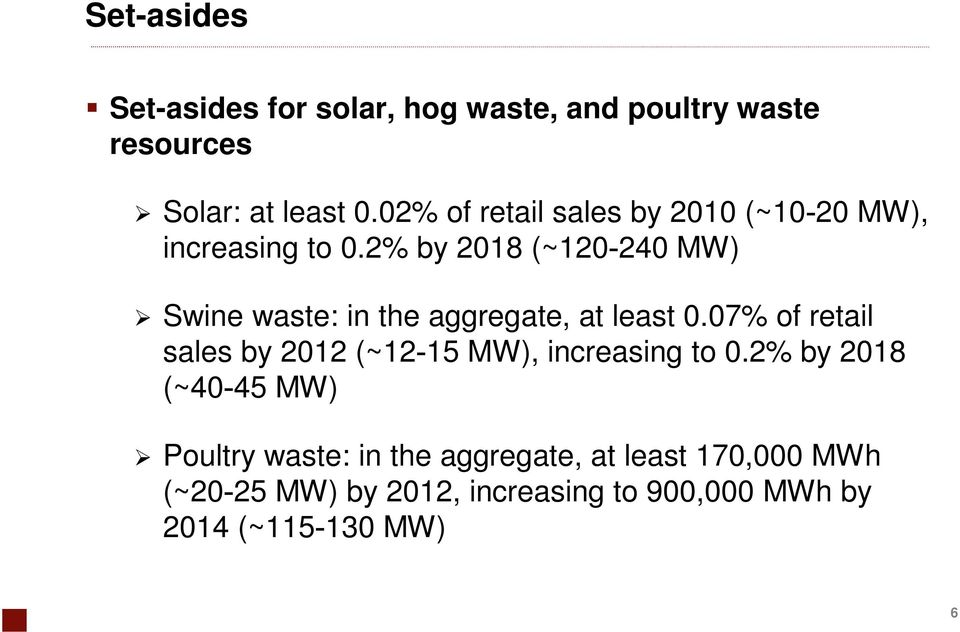 2% by 2018 (~120 240 MW) Swine waste: in the aggregate, at least 0.