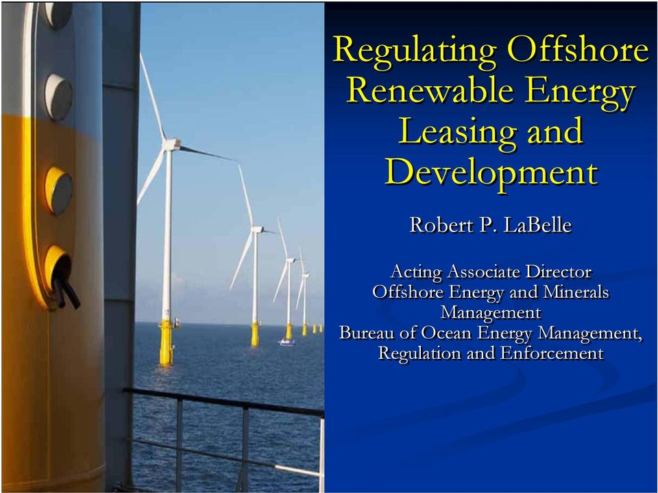 LaBelle Acting Associate Director Offshore Energy