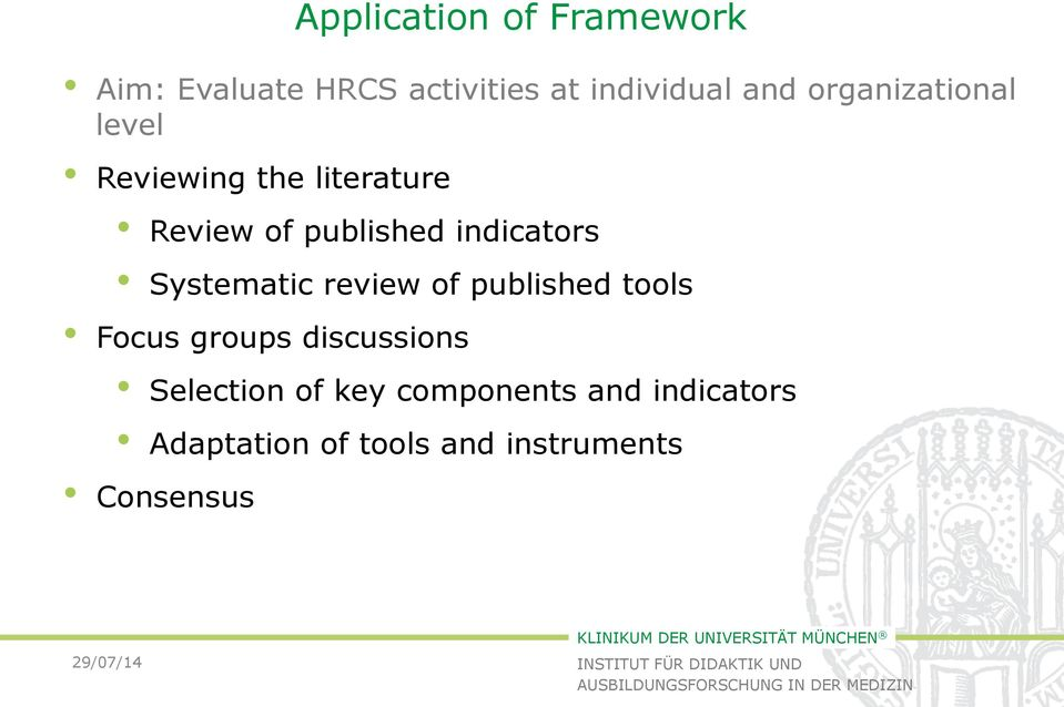 indicators Systematic review of published tools Focus groups discussions