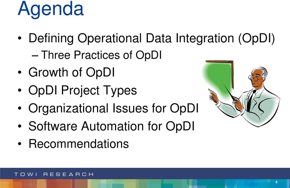 OpDI Project Types Organizational Issues for