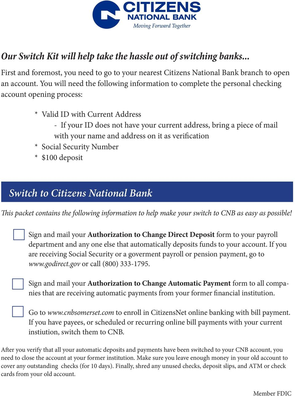Switch to Citizens National Bank - PDF