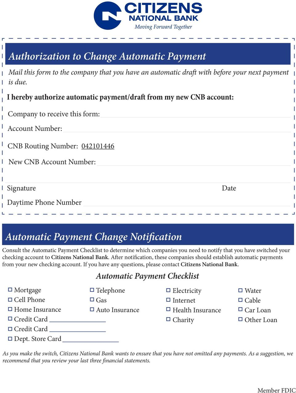 Checklist to determine which companies you need to notify that you have switched your checking account to Citizens National Bank.