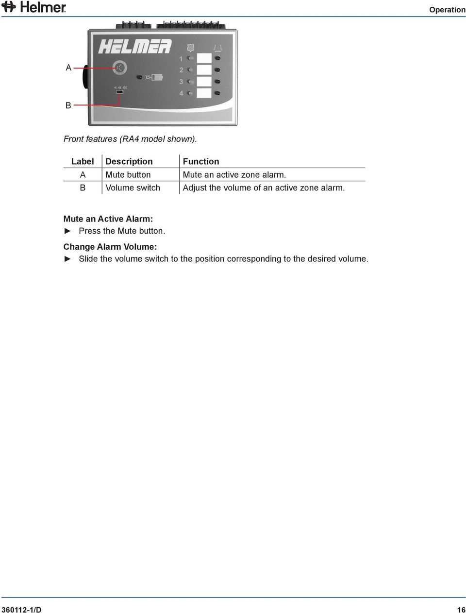 B Volume switch Adjust the volume of an active zone alarm.