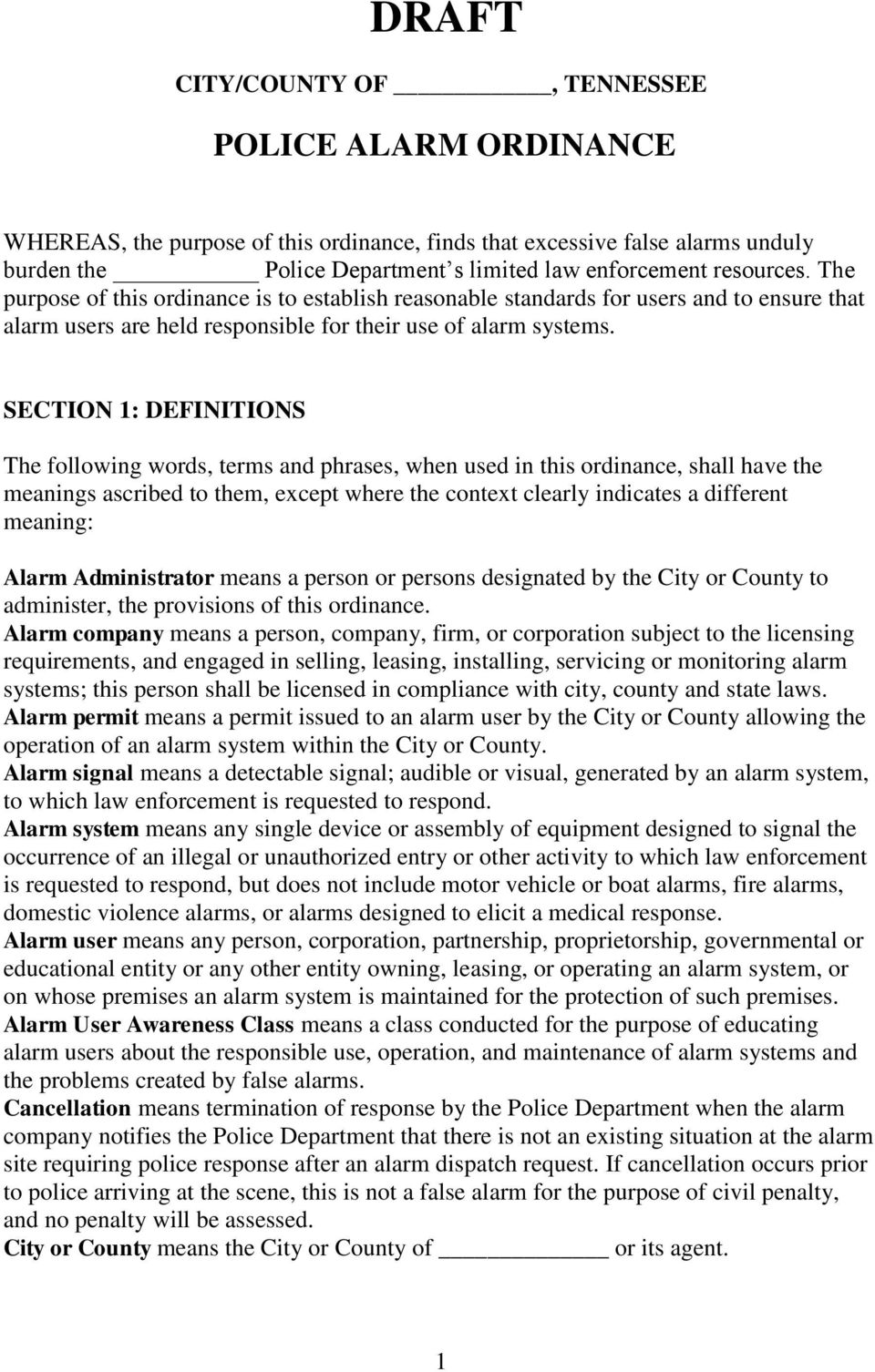 SECTION 1: DEFINITIONS The following words, terms and phrases, when used in this ordinance, shall have the meanings ascribed to them, except where the context clearly indicates a different meaning: