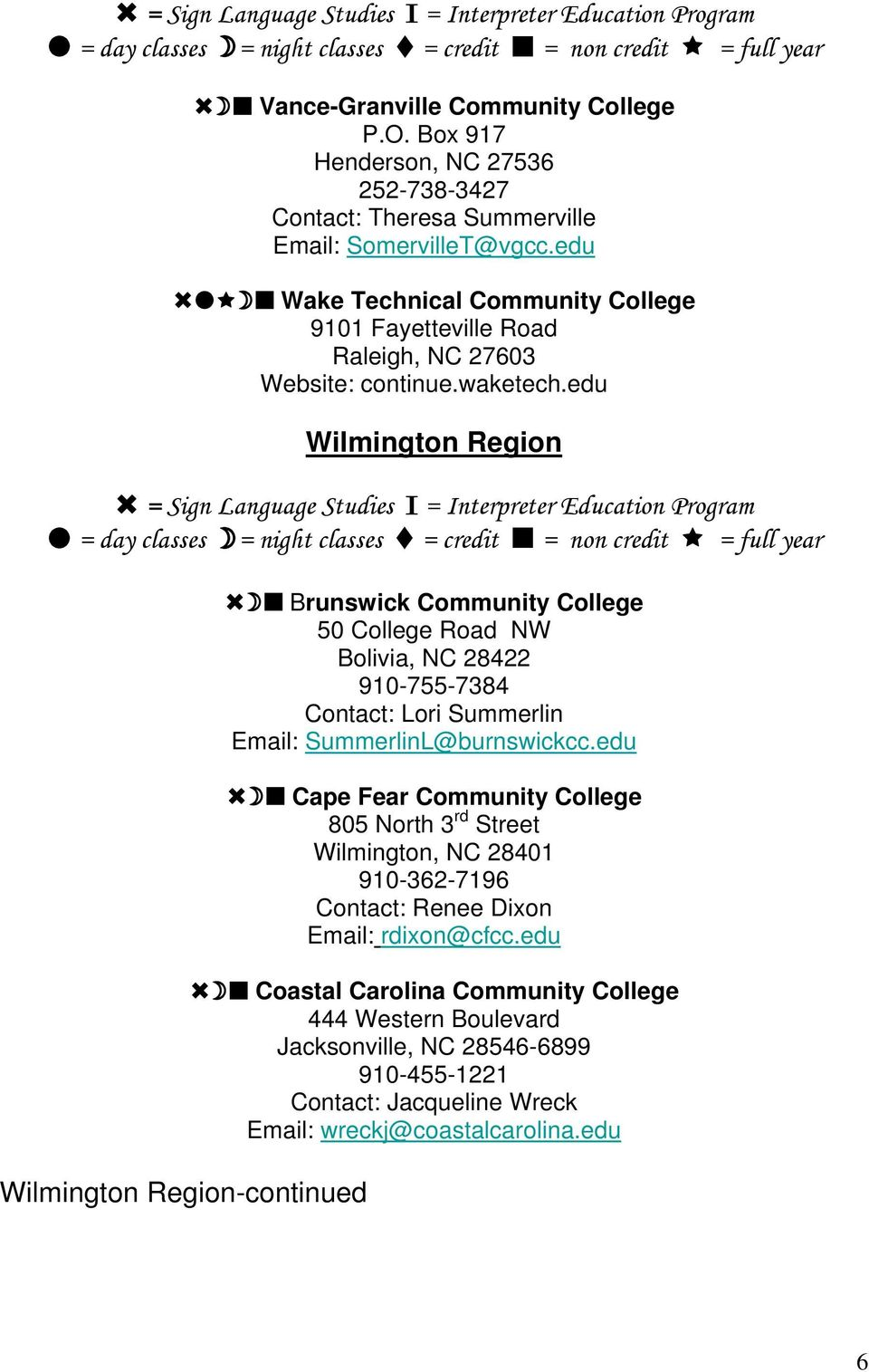 edu Wilmington Region Wilmington Region-continued Brunswick Community College 50 College Road NW Bolivia, NC 28422 910-755-7384 Contact: Lori Summerlin Email: