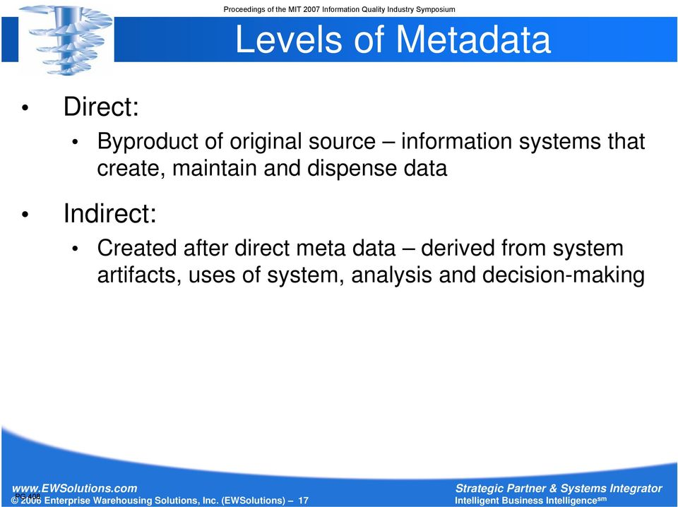 direct meta data derived from system artifacts, uses of system, analysis