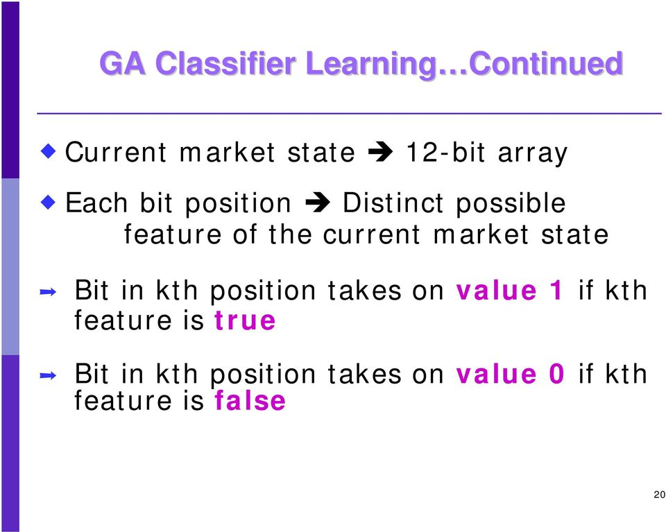 market state Bit in kth position takes on value 1 if kth feature