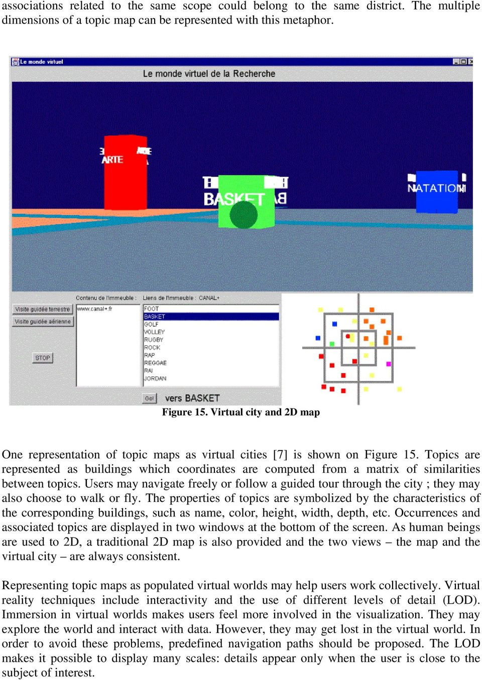 Topics are represented as buildings which coordinates are computed from a matrix of similarities between topics.