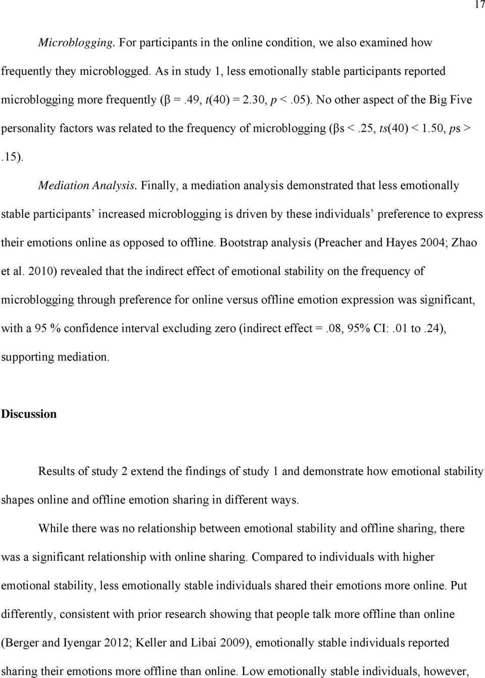 No other aspect of the Big Five personality factors was related to the frequency of microblogging (βs <.25, ts(40) < 1.50, ps >.15). Mediation Analysis.