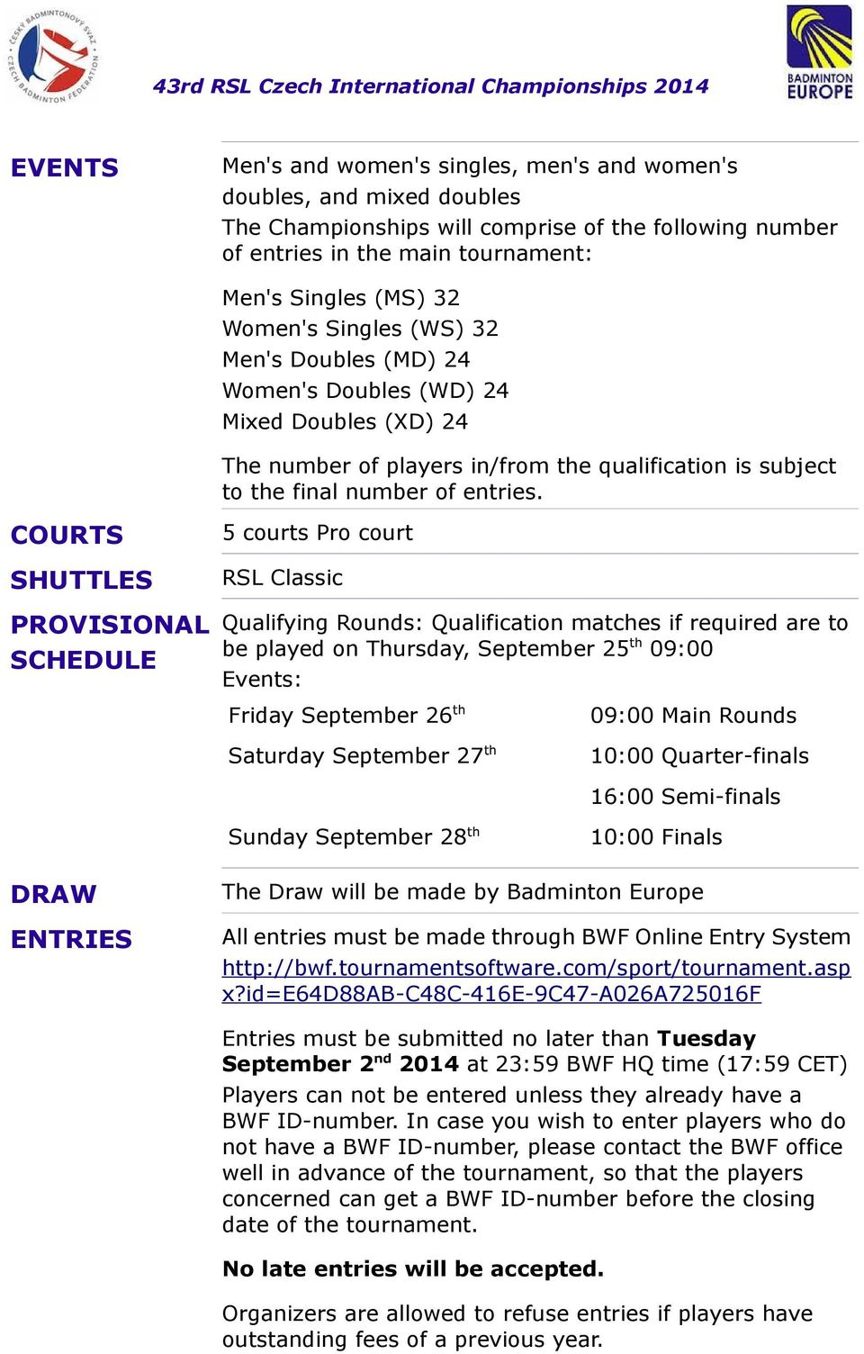 COURTS SHUTTLES PROVISIONAL SCHEDULE 5 courts Pro court RSL Classic Qualifying Rounds: Qualification matches if required are to be played on Thursday, September 25 th 09:00 Events: Friday September
