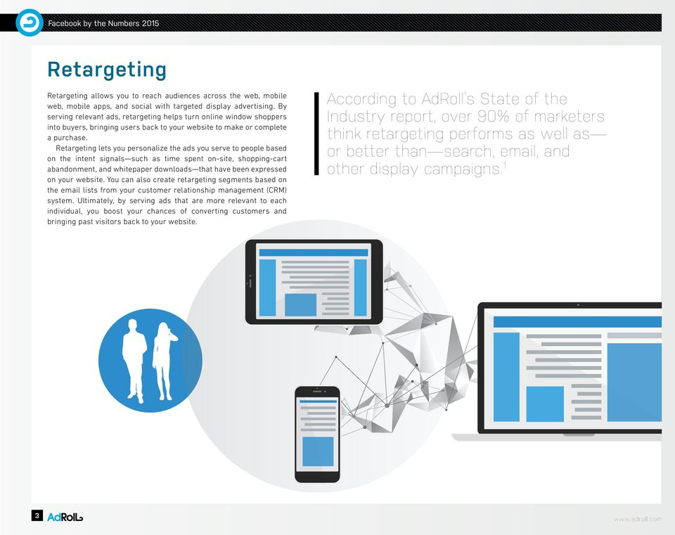 Retargeting lets you personalize the ads you serve to people based on the intent signals such as time spent on-site, shopping-cart abandonment, and whitepaper downloads that have been expressed on