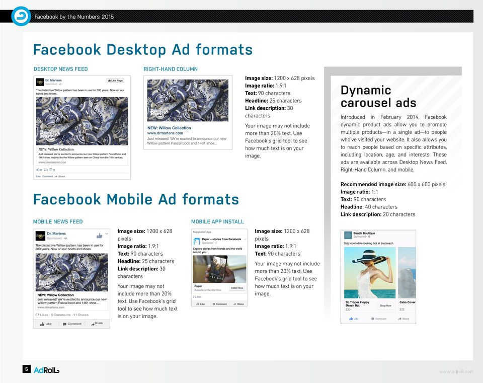 Dynamic carousel ads Introduced in February 2014, Facebook dynamic product ads allow you to promote multiple products in a single ad to people who ve visited your website.
