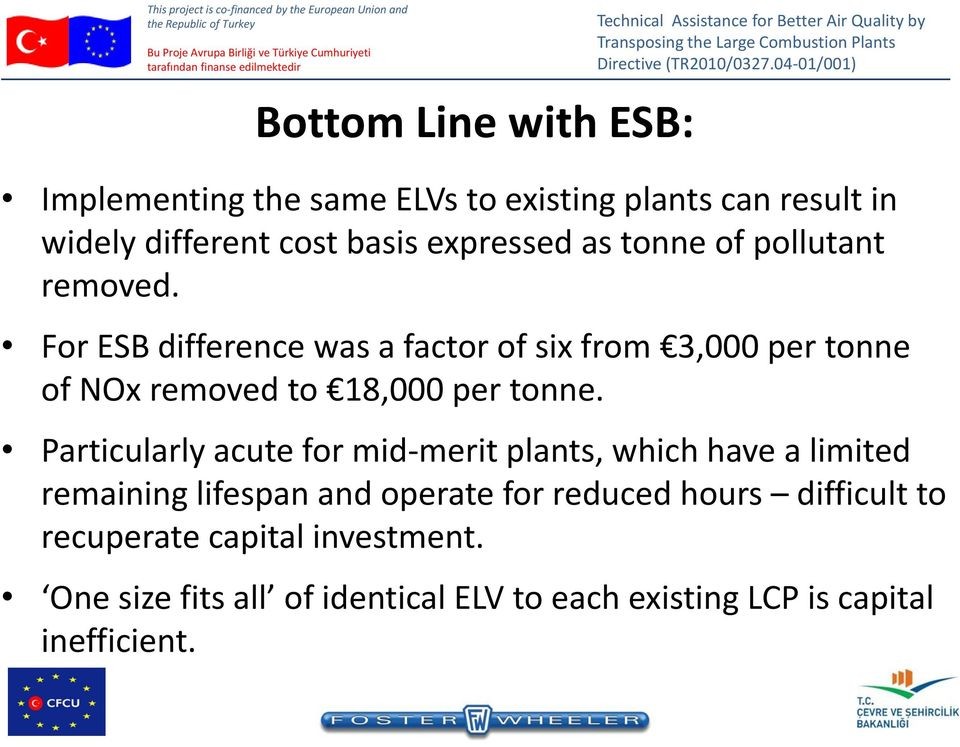 For ESB difference was a factor of six from 3,000 per tonne of NOx removed to 18,000 per tonne.