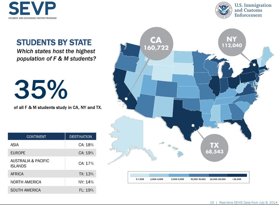 of all F & M students study in CA, NY and TX.