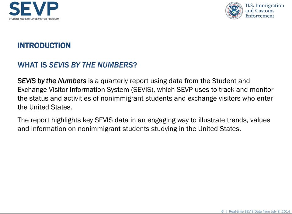 which SEVP uses to track and monitor the status and activities of nonimmigrant students and exchange visitors who enter the
