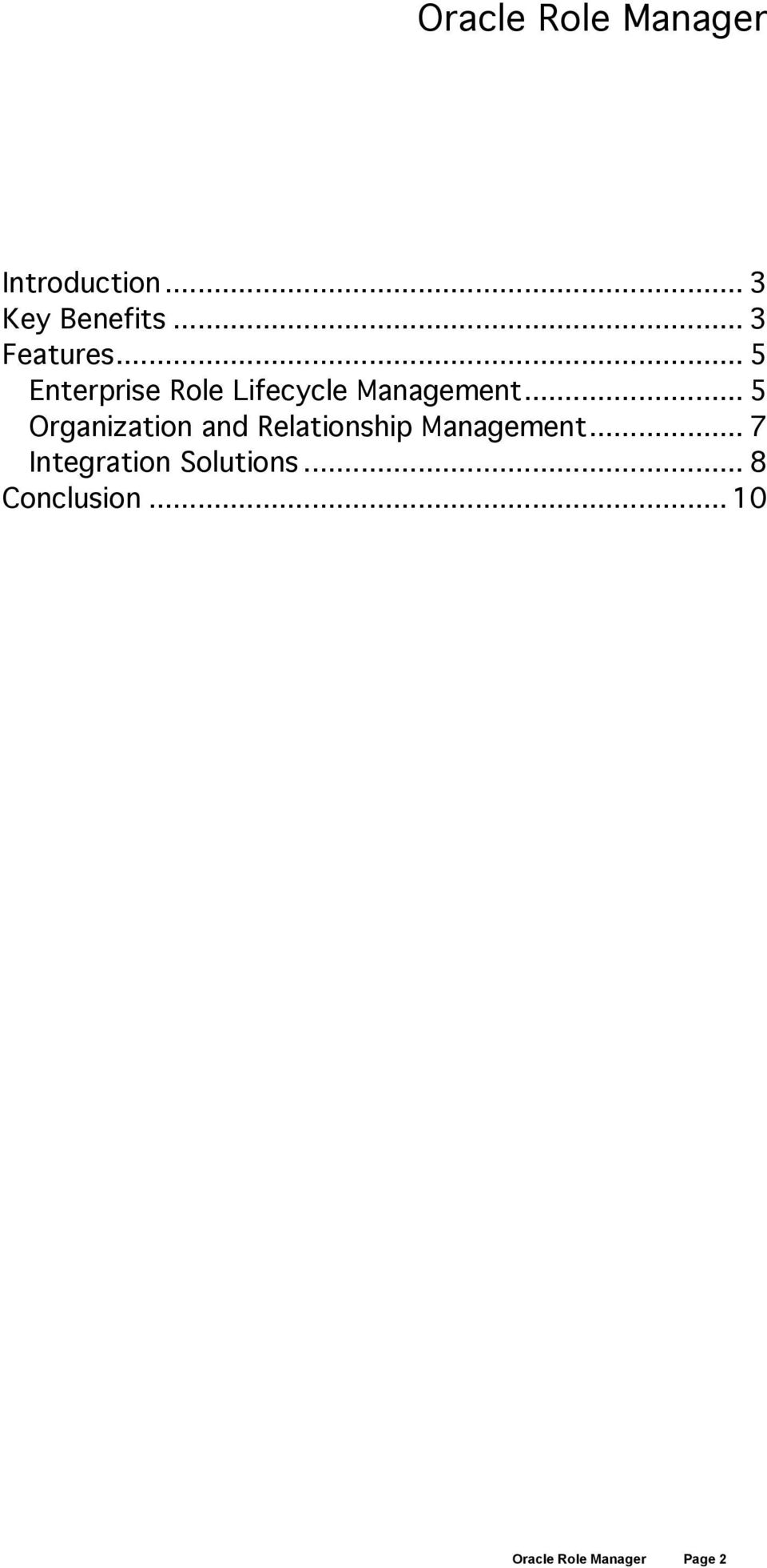 .. 5 Organization and Relationship Management.