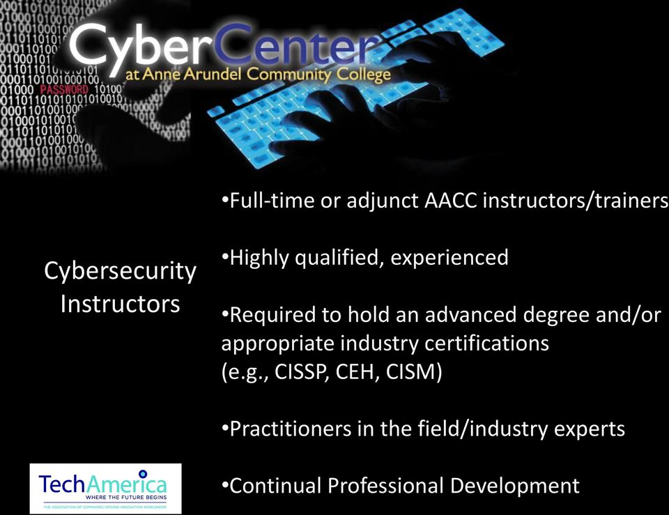 degree and/or appropriate industry certifications (e.g., CISSP, CEH,