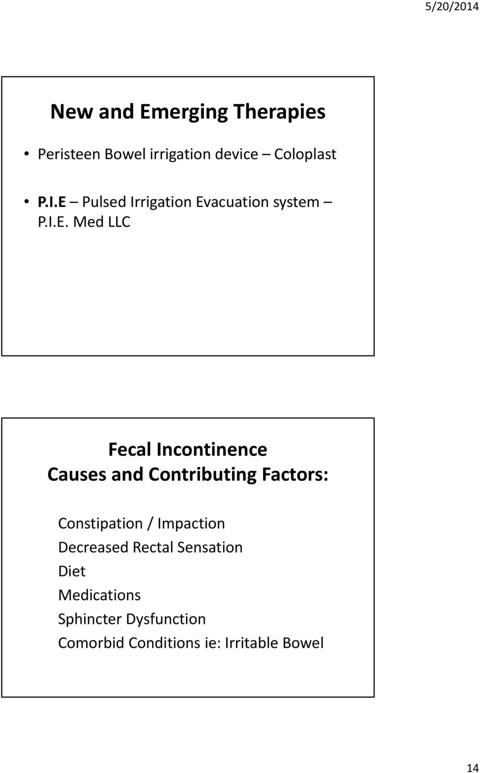 and Contributing Factors: Constipation / Impaction Decreased Rectal Sensation