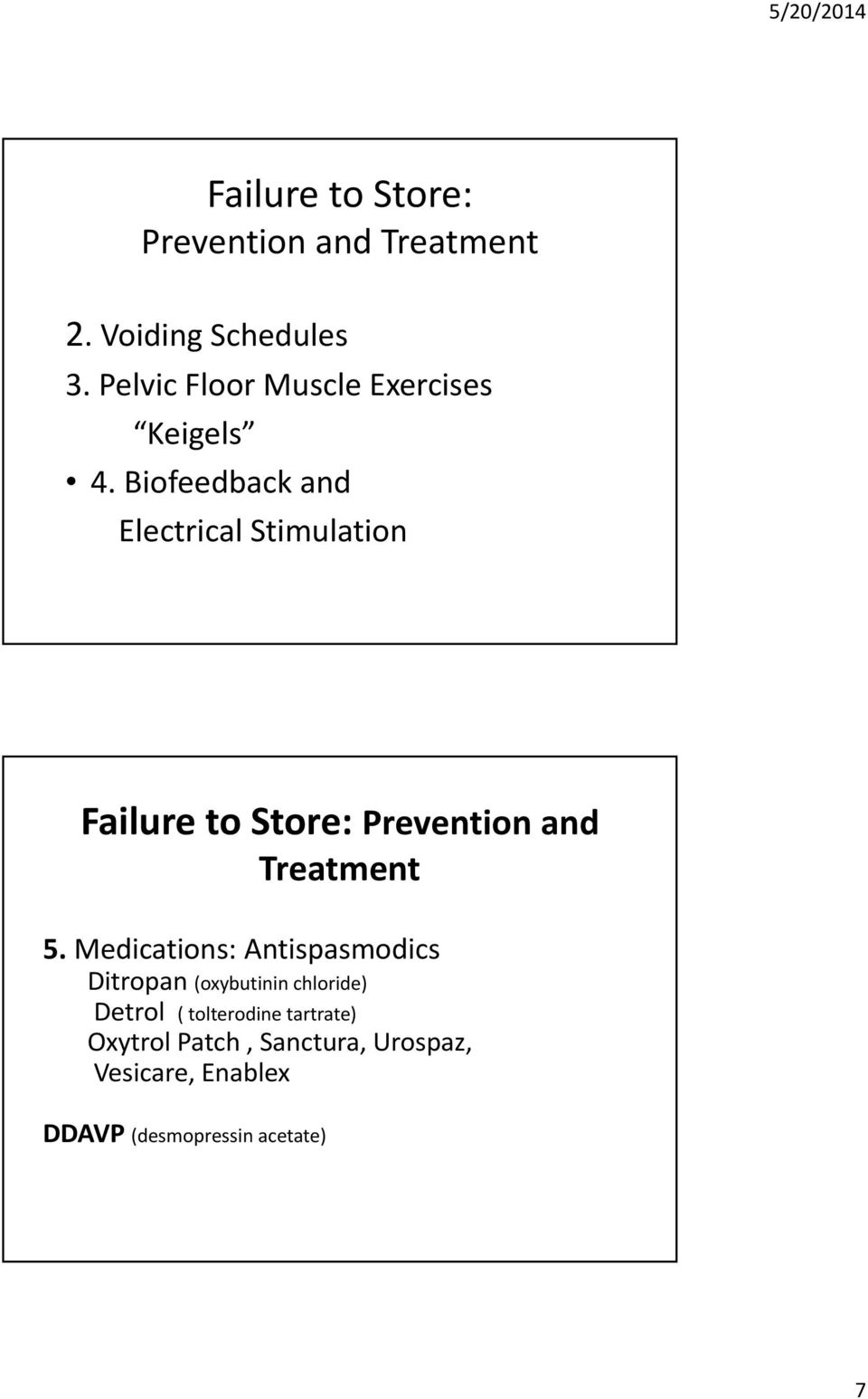 Biofeedback and Electrical Stimulation Failure to Store: Prevention and Treatment 5.