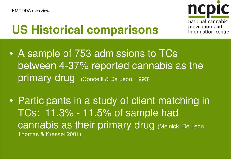 1993) Participants in a study of client matching in TCs: 11.3% - 11.