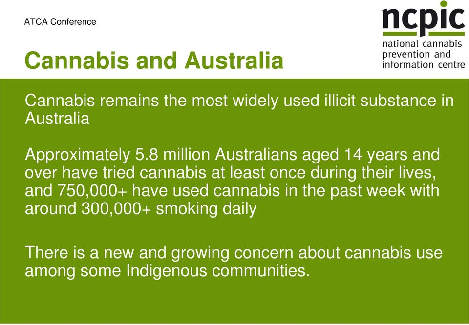 8 million Australians aged 14 years and over have tried cannabis at least once during their