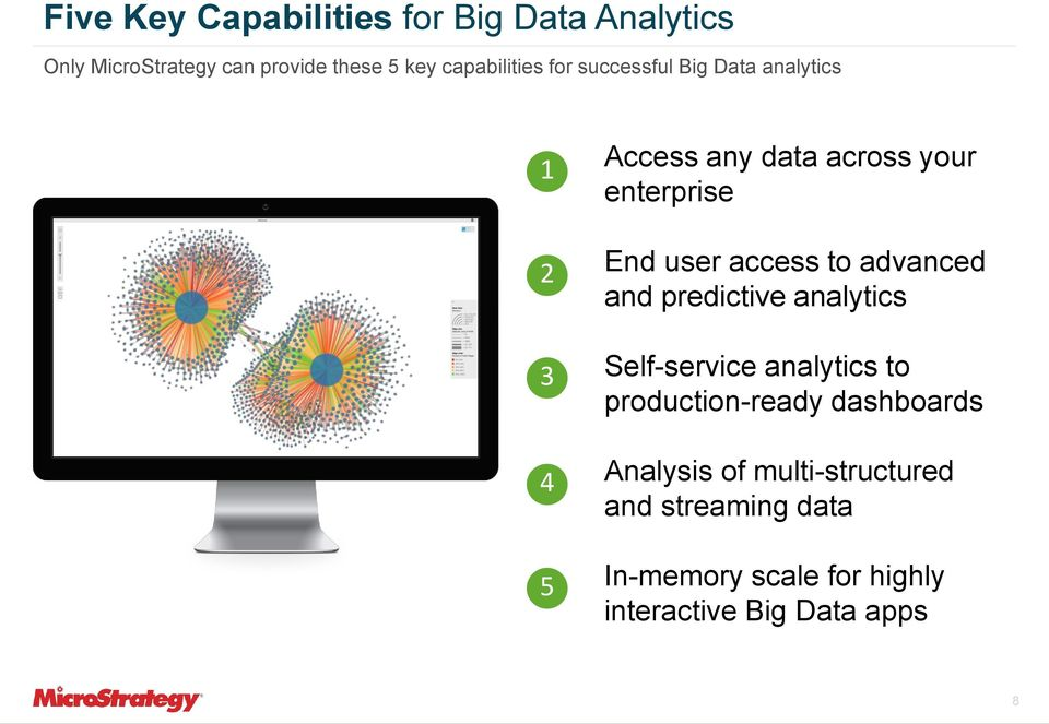 End user access to advanced and predictive analytics Self-service analytics to production-ready