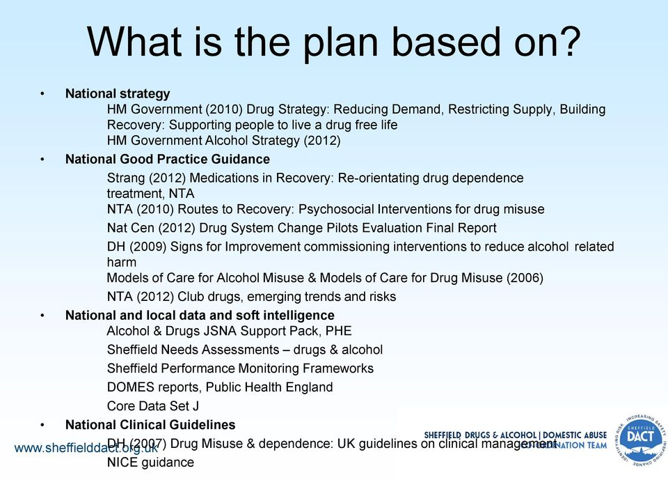 Good Practice Guidance Strang (2012) Medications in Recovery: Re-orientating drug dependence treatment, NTA NTA (2010) Routes to Recovery: Psychosocial Interventions for drug misuse Nat Cen (2012)