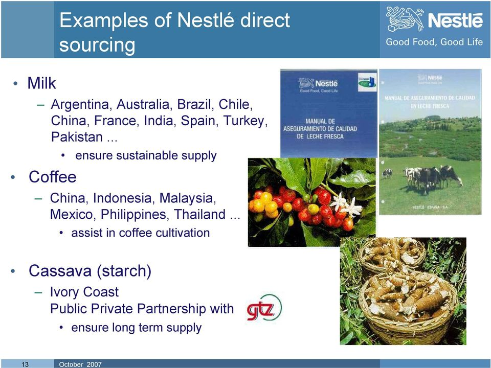 .. ensure sustainable supply Coffee China, Indonesia, Malaysia, Mexico,