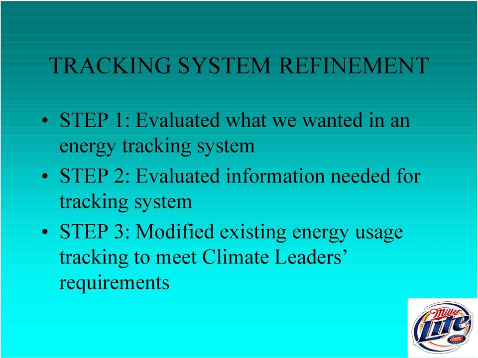information needed for tracking system STEP 3: Modified