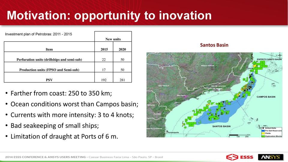 50 PSV 192 281 Farther from coast: 250 to 350 km; Ocean conditions worst than Campos basin; Currents