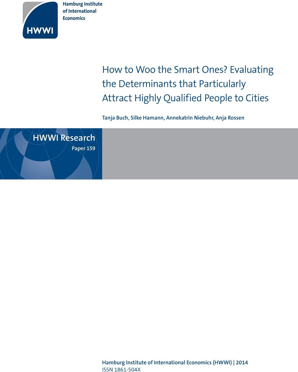 Qualified People to Cities Tanja Buch, Silke Hamann, Annekatrin
