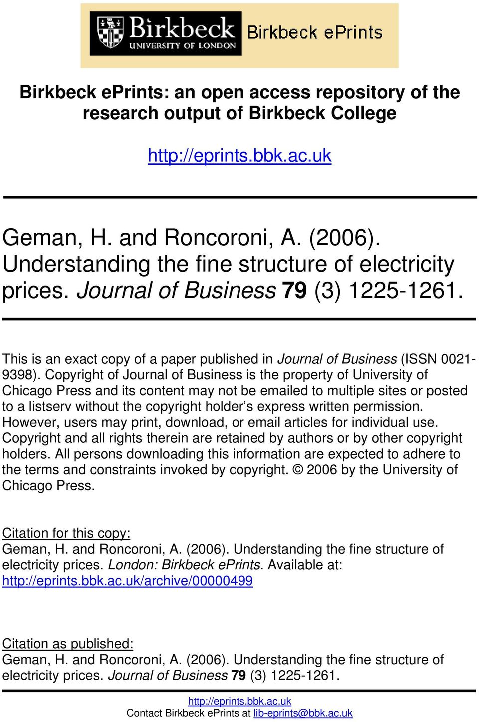 Copyright of Journal of Business is the property of University of Chicago Press and its content may not be emailed to multiple sites or posted to a listserv without the copyright holder s express