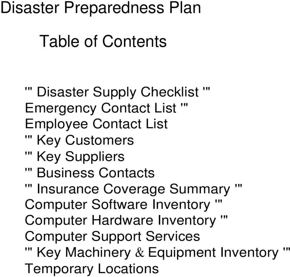 "Contacts '"" Insurance Coverage Summary '"" Computer Software Inventory '"" Computer"