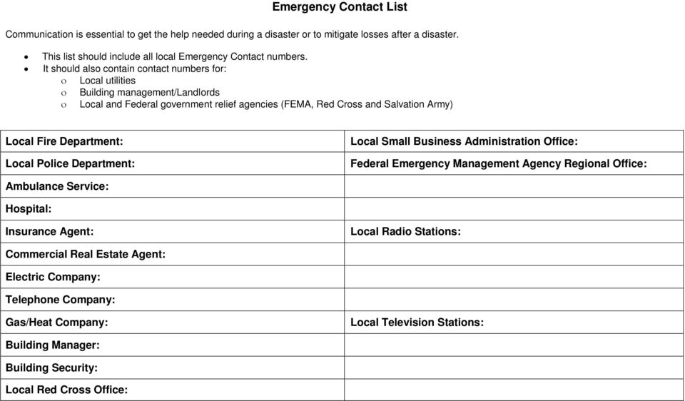 It should also contain contact numbers for: ο Local utilities ο Building management/landlords ο Local and Federal government relief agencies (FEMA, Red Cross and Salvation Army) Local Fire