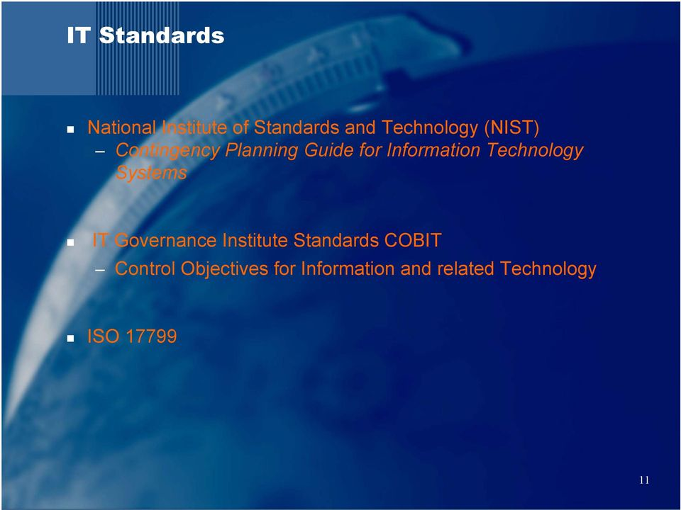 Technology Systems IT Governance Institute Standards COBIT