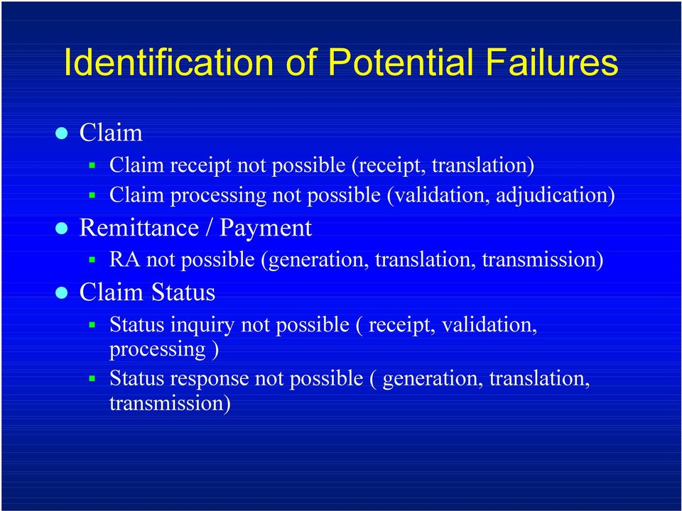 (generation, translation, transmission) Claim Status Status inquiry not possible ( receipt,