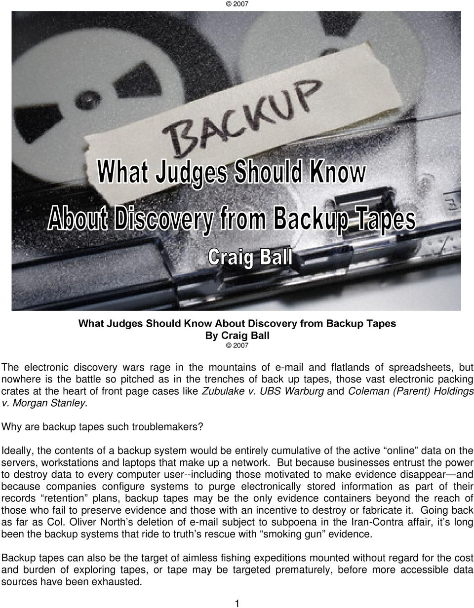 Morgan Stanley. Why are backup tapes such troublemakers?
